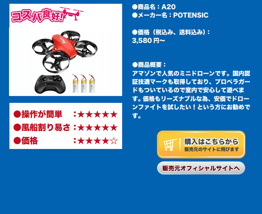 A20,ポテンシック,Potensic: GPS Drones with Camera. Mini Toy Drones,説明文の画像